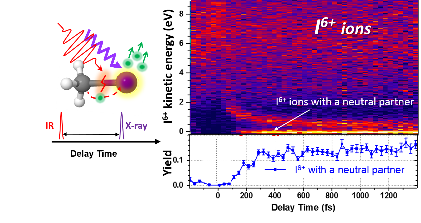 Figure 1. Delay-dependent kinetic energy spectrum of the measured I6+ ions (top) and the yield of the lowest-energy channel (bottom)