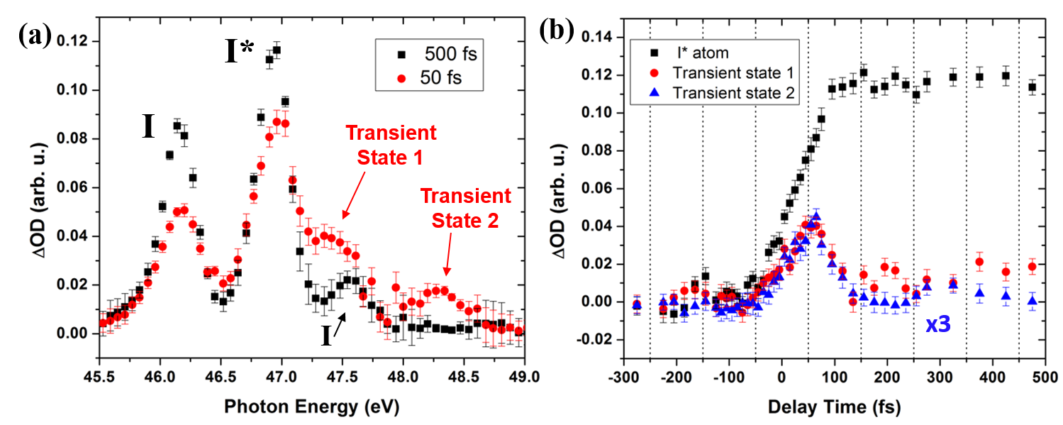 (a) Differential absorption spectra of allyl iodide near the atomic iodine pre-edge resonances, at 50 and 500 fs following 266 nm excitation. (b) Time-resolved differential absorption lineouts of allyl iodide.